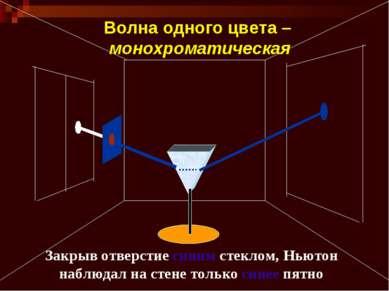 Закрыв отверстие синим стеклом, Ньютон наблюдал на стене только синее пятно В...