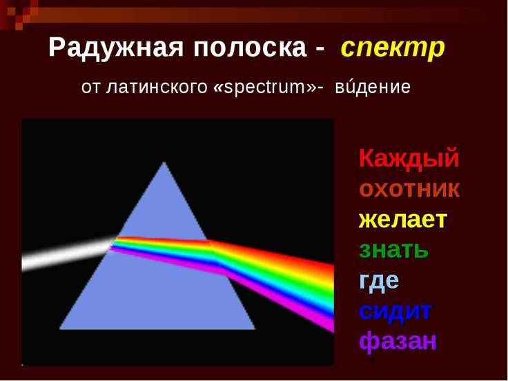 Радужная полоска - спектр от латинского «spectrum»- вúдение Каждый охотник же...