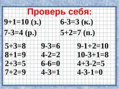 Проверь себя: 9+1=10 (з.) 6-3=3 (к.) 7-3=4 (р.) 5+2=7 (п.) 5+3=8 8+1=9 2+3=5 ...
