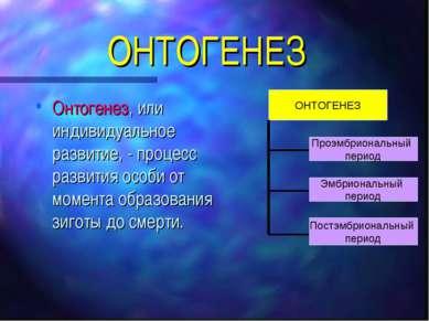 ОНТОГЕНЕЗ Онтогенез, или индивидуальное развитие, - процесс развития особи от...