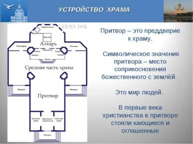 УСТРОЙСТВО ХРАМА Притвор – это преддверие к храму. Символическое значение при...