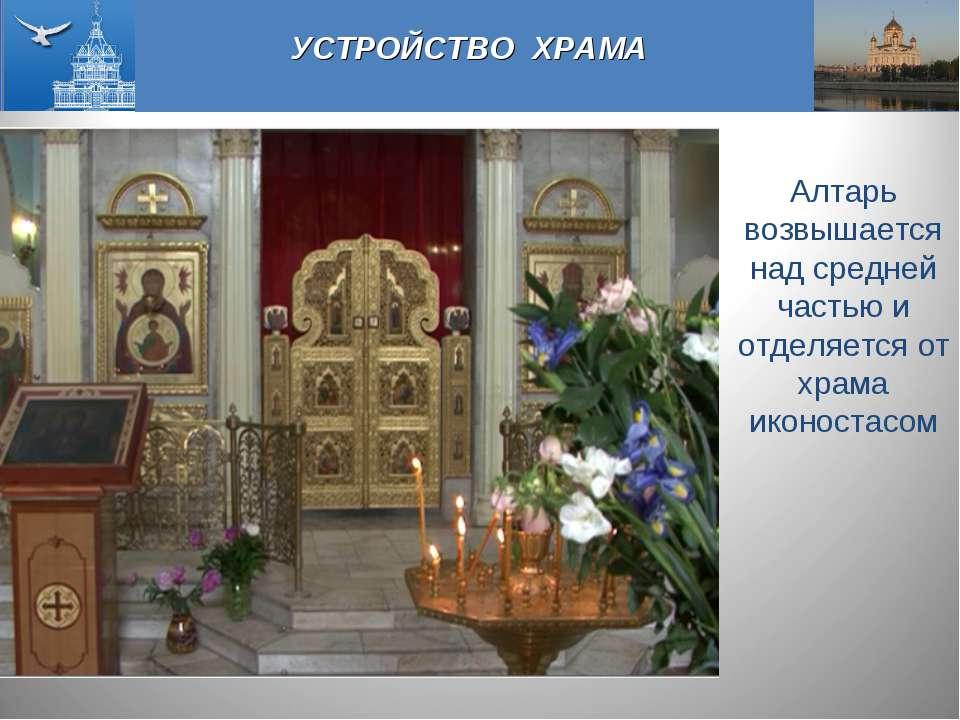 УСТРОЙСТВО ХРАМА Алтарь возвышается над средней частью и отделяется от храма ...
