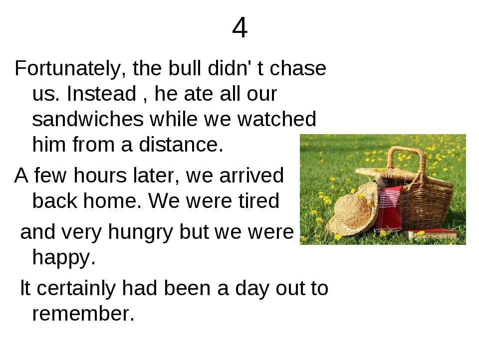4 Fortunately, the bull didn' t chase us. Instead , he ate all our sandwiches...