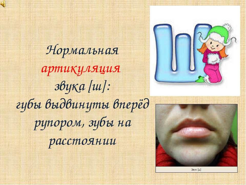 Нормальная артикуляция звука [ш]: губы выдвинуты вперёд рупором, зубы на расс...