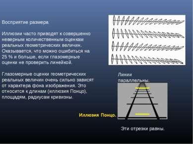 Восприятие размера Иллюзии часто приводят к совершенно неверным количественны...