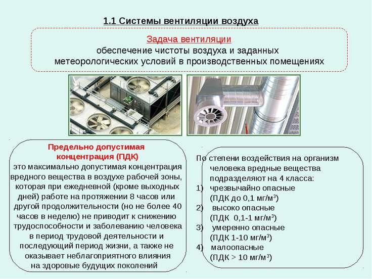 1.1 Системы вентиляции воздуха Задача вентиляции обеспечение чистоты воздуха ...