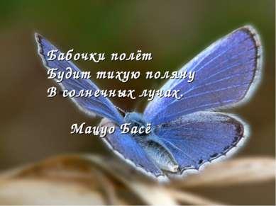 Бабочки полёт Будит тихую поляну В солнечных лучах. Мацуо Басё