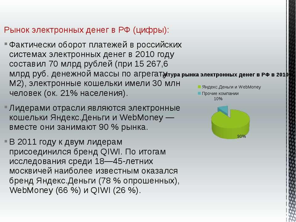 Рынок электронных денег в РФ (цифры): Фактически оборот платежей в российских...