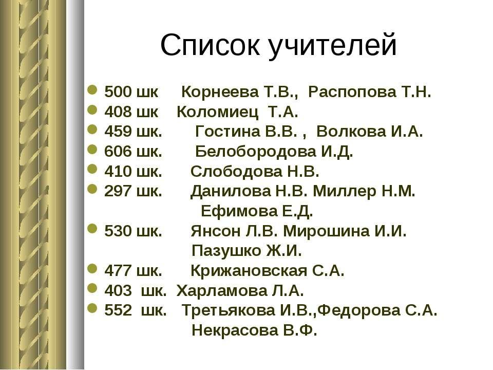 Список учителей 500 шк Корнеева Т.В., Распопова Т.Н. 408 шк Коломиец Т.А. ...