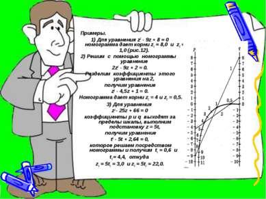 • Примеры. 1) Для уравнения z2 - 9z + 8 = 0 номограмма дает корни z1 = 8,0 и ...