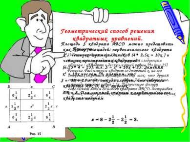 Геометрический способ решения квадратных уравнений. Примеры. 1) Решим уравнен...