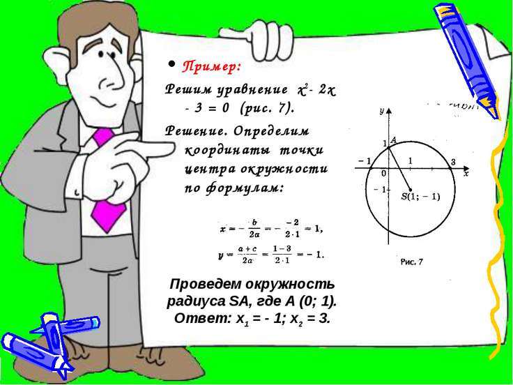 • Пример: Решим уравнение х2- 2х - 3 = 0 (рис. 7). Решение. Определим координ...
