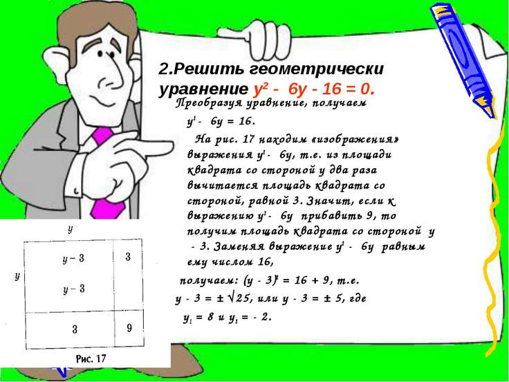 Преобразуя уравнение, получаем у2 - 6у = 16. На рис. 17 находим «изображения»...