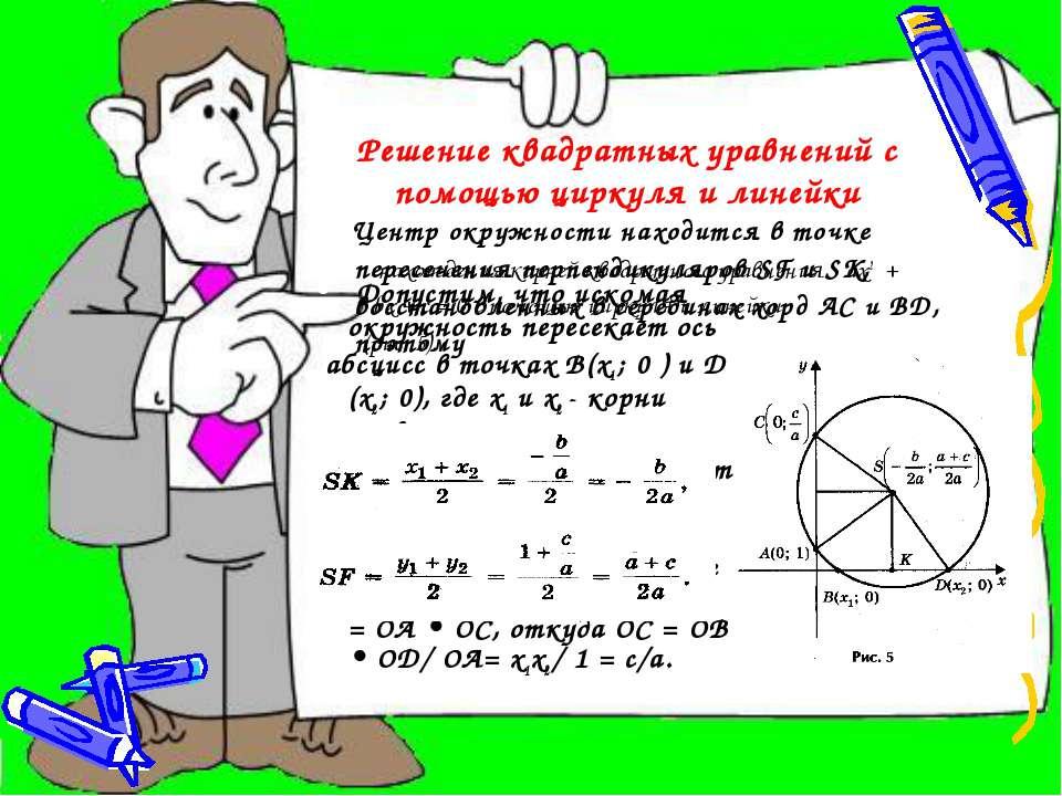 Решение квадратных уравнений с помощью циркуля и линейки нахождения корней кв...
