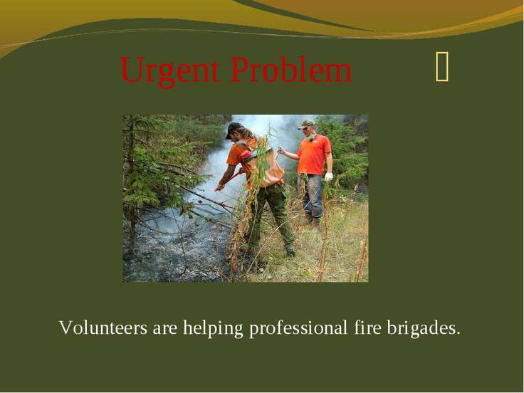 Urgent Problem Volunteers are helping professional fire brigades.