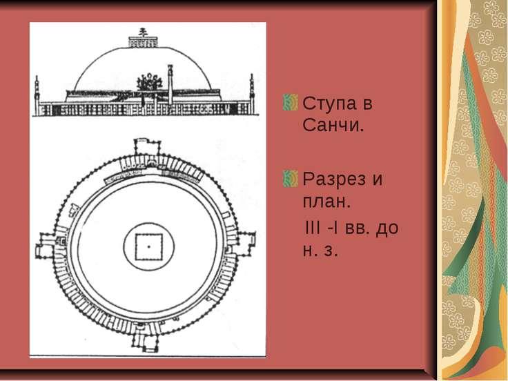 Ступа в Санчи. Разрез и план. III -I вв. до н. з.
