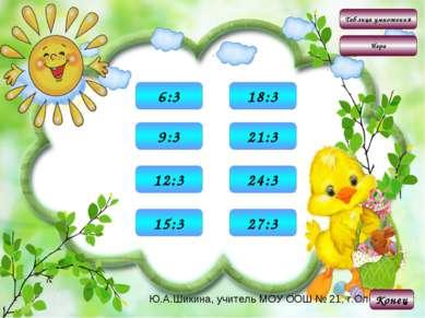 Таблица умножения Игра 2 6:3 Конец 3 9:3 4 12:3 5 15:3 6 18:3 7 21:3 8 24:3 9...