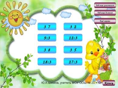 Таблица умножения Таблица деления Конец Ещё играть 6 3·2 15 3·5 21 3·7 24 3·8...