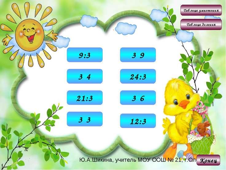 Таблица умножения Таблица деления Конец 9 3·3 12 3·4 18 3·6 27 3·9 3 9:3 4 12...