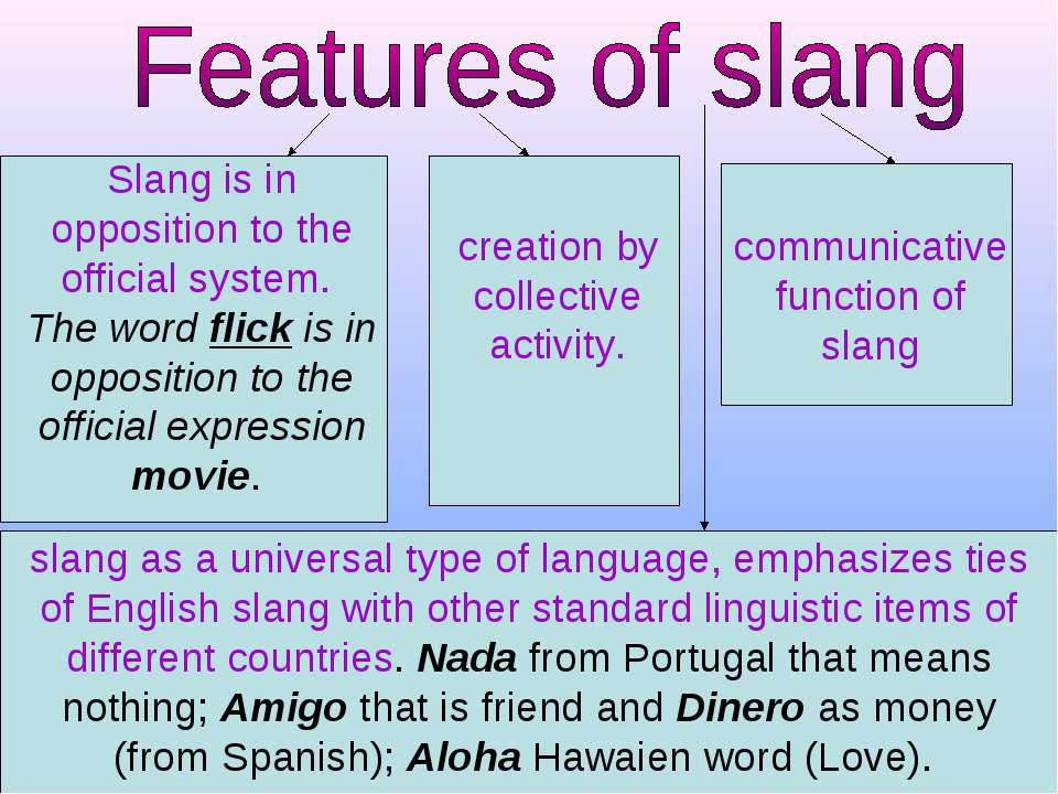 Slang is in opposition to the official system. The word flick is in oppositio...