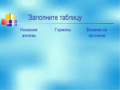 Заполните таблицу Название железы Гормоны Влияние на организм