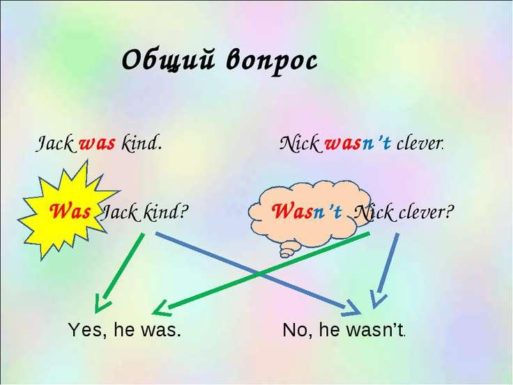 Общий вопрос Jack was kind. Was Jack kind? Yes, he was. No, he wasn't. Nick w...