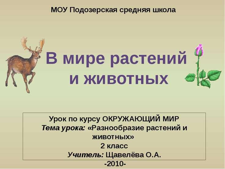 Урок по курсу ОКРУЖАЮЩИЙ МИР Тема урока: «Разнообразие растений и животных» 2...