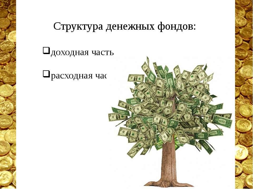 Структура денежных фондов: доходная часть расходная часть