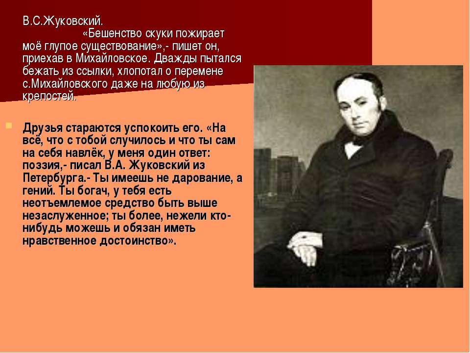 В.С.Жуковский. «Бешенство скуки пожирает моё глупое существование»,- пишет он...