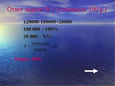 Ответ задачи № 2 (стоимость 100 р.) 120000-100000=20000 100 000 – 100% 20 000...