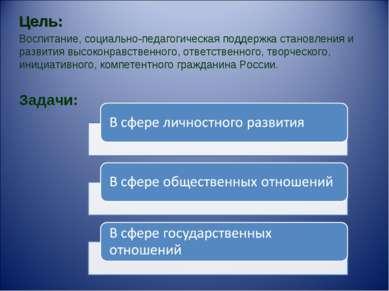 Цель: Воспитание, социально-педагогическая поддержка становления и развития в...
