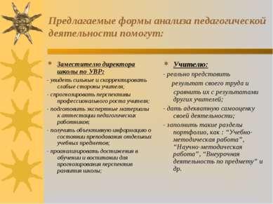 Предлагаемые формы анализа педагогической деятельности помогут: Заместителю д...