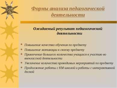 Формы анализа педагогической деятельности Ожидаемый результат педагогической ...