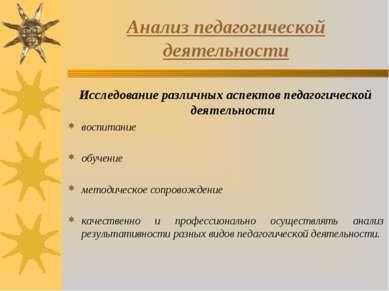 Анализ педагогической деятельности Исследование различных аспектов педагогиче...