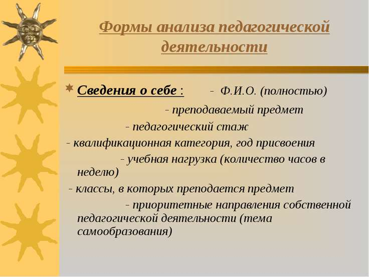 Формы анализа педагогической деятельности Сведения о себе : - Ф.И.О. (полност...