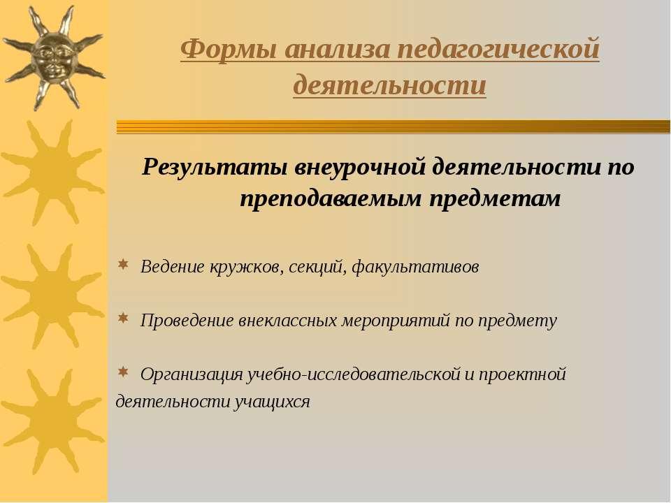 Формы анализа педагогической деятельности Результаты внеурочной деятельности ...