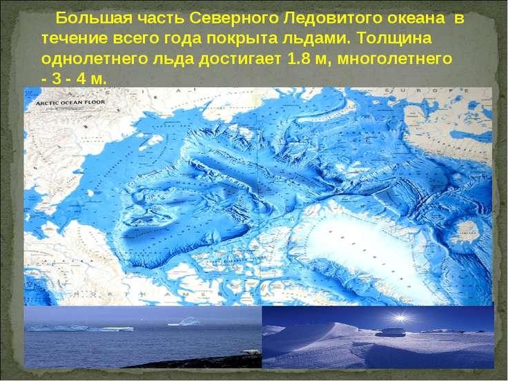 Большая часть Северного Ледовитого океана в течение всего года покрыта льдами...