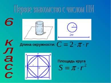 Длина окружности: Площадь круга
