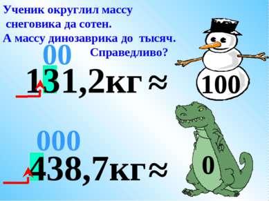 438,7кг ≈ 000 Ученик округлил массу снеговика да сотен. А массу динозаврика д...