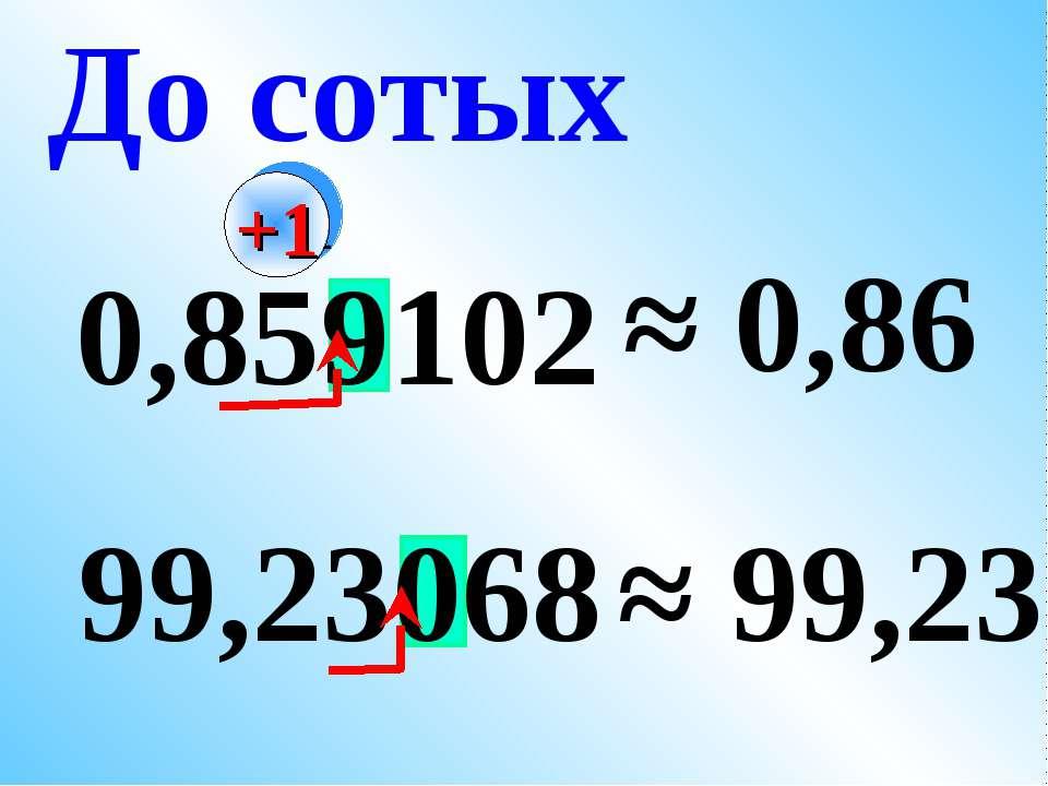 0,859102 ≈ 0,86 99,23068 ≈ 99,23 До сотых +1