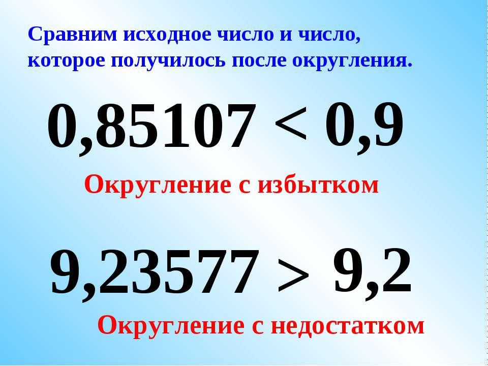 9,23577 0,9 0,85107 9,2 Сравним исходное число и число, которое получилось по...