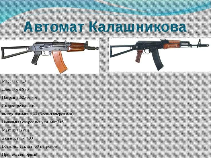 Автомат Калашникова Масса, кг:4,3 Длина, мм:870 Патрон:7,62×39 мм Скорострель...