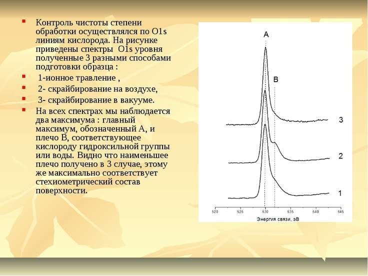 Контроль чистоты степени обработки осуществлялся по О1s линиям кислорода. На ...