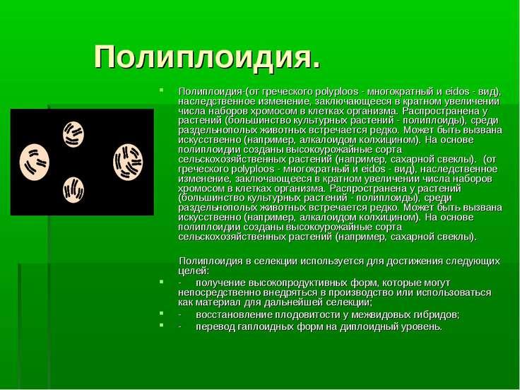 Полиплоидия. Полиплоидия-(от греческого polyploos - многократный и eidos - ви...