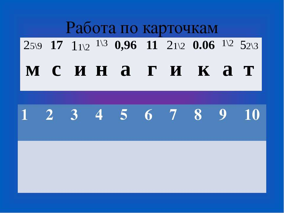 Работа по карточкам 25\9 17 11\2 1\3 0,96 11 21\2 0.06 1\2 52\3 м с и н а г и...