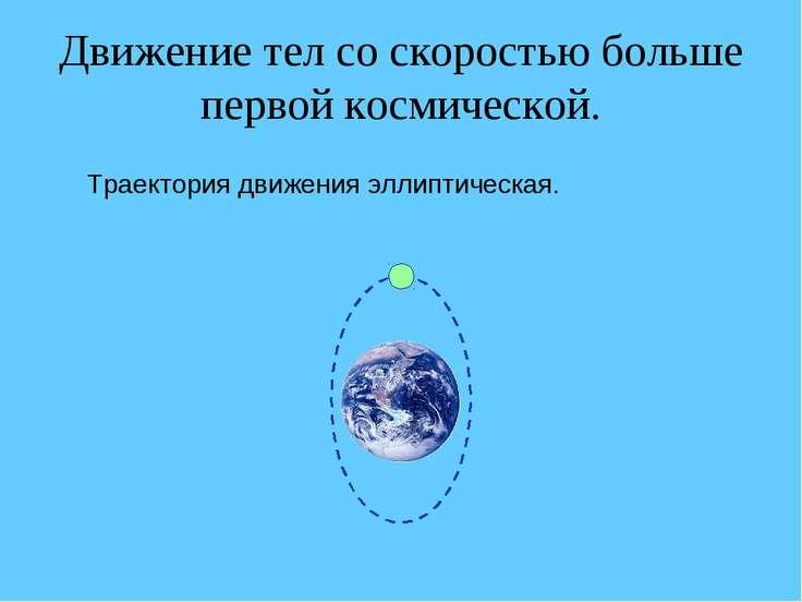 Движение тел со скоростью больше первой космической. Траектория движения элли...