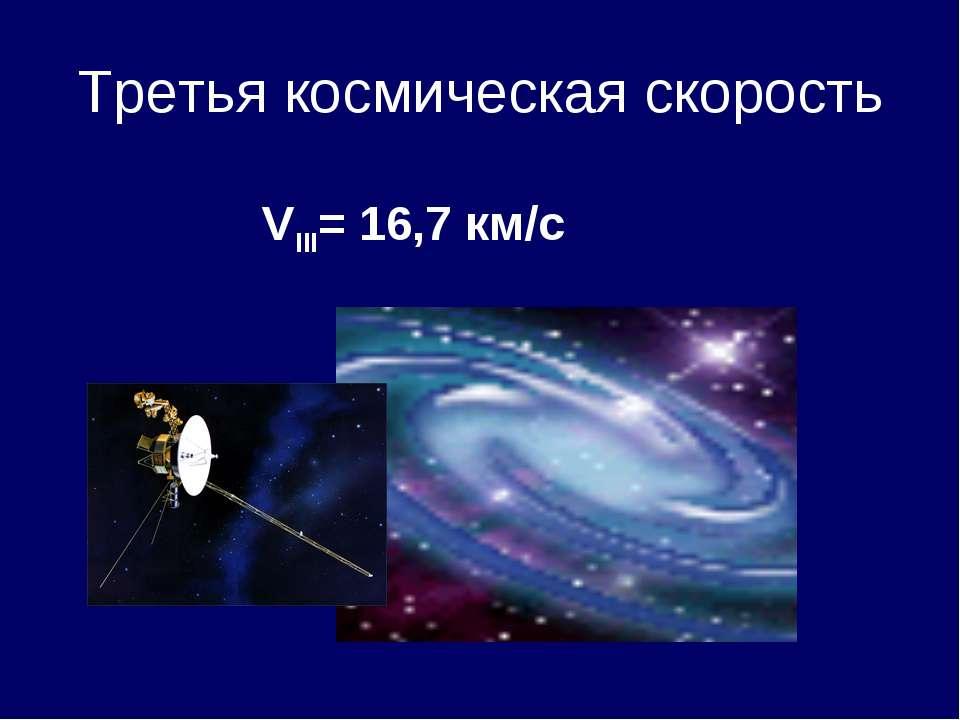 Третья космическая скорость VIII= 16,7 км/с