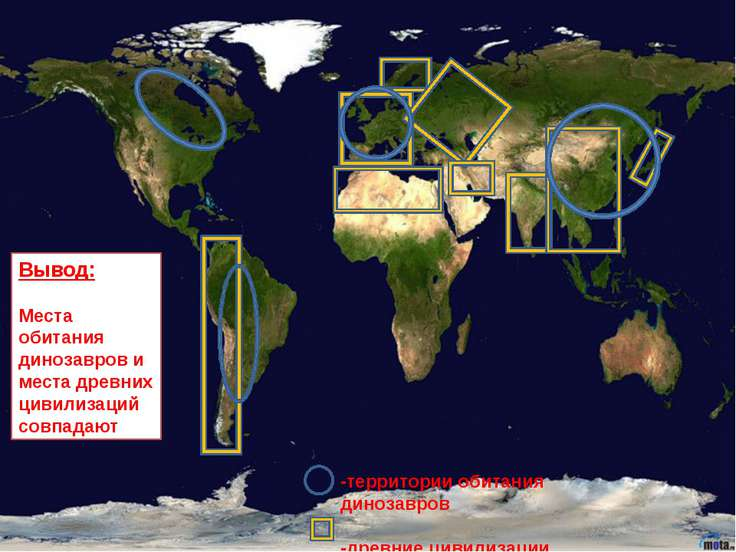 -территории обитания динозавров -древние цивилизации Вывод: Места обитания ди...