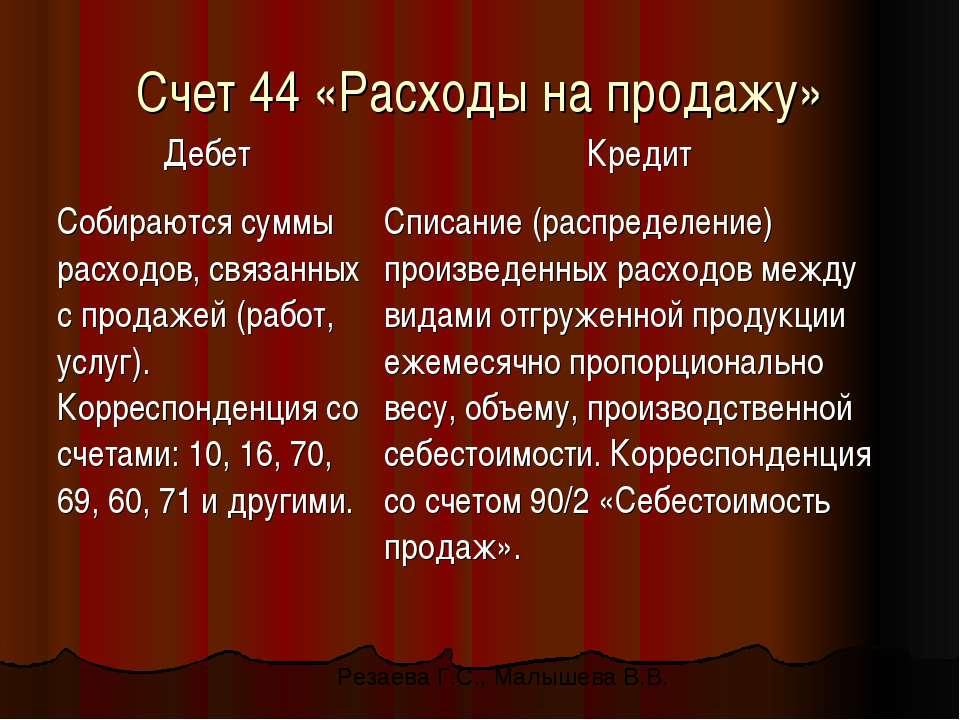 Счет 44 «Расходы на продажу» Резаева Г.С., Малышева В.В.