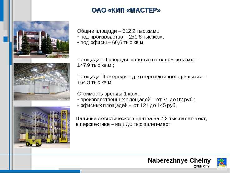 ОАО «КИП «МАСТЕР» Общие площади – 312,2 тыс.кв.м.: под производство – 251,6 т...
